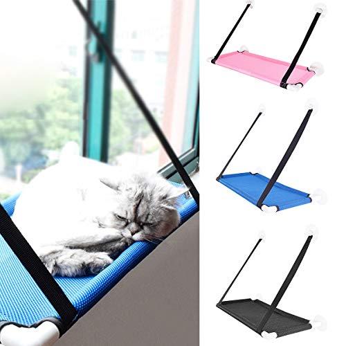 Eurobuy 360 ° Sunbath Cat Window Perch, Hamaca Transpirable de Material de Red Cat Window, Cama de Gato montada en Ventana con ventosas Fuertes y Almohadilla Auxiliar de Silicona (Color Black)