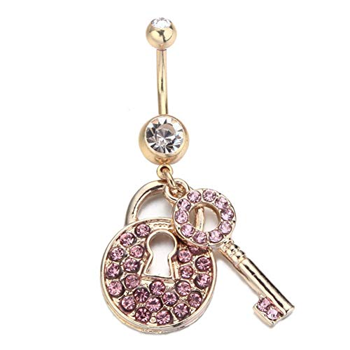 Belly Button Rings gLoaSublim,Women Sexy Belly Button Ring Key Lock Shape Shiny Navel Piercing Body Jewelry - Pink - Lock Dangle