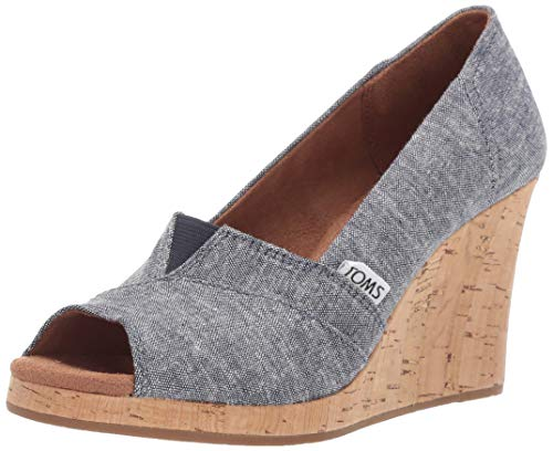 TOMS Women's Classic Wedge Sandal, Navy slub Chambray, 8.5 Medium US (Womens Shoes 8 Size Wedges Toms)