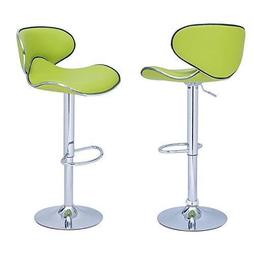 Joveco 360 Degree Swivel Adjustable Saddleback Design Bar Stool - Set of 2 (Lemon Green) - Saddle Style Bar Stool