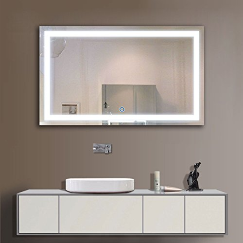 decoraport 40 inch 24 inch horizontal led wall mounted lighted vanity bathroom silvered mirror with touch button ack010g