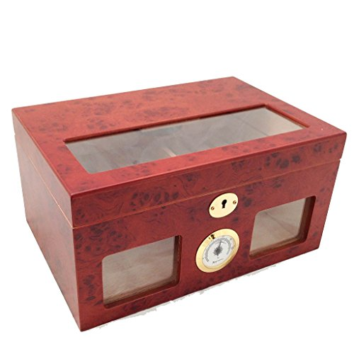 Large Burl Accent Table (Cigar Humidor - Burl Wood Clear Top and Front View Display Storage)
