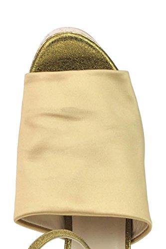 Leather Women's Sandals Strategia MCGLCAT03247E Gold wZXfdwqtRa