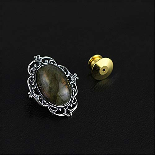 Acecare Real 925 Sterling Silver Natural Labradorite Designer Handmade Fine Jewelry Vintage Victorian Style Brooches