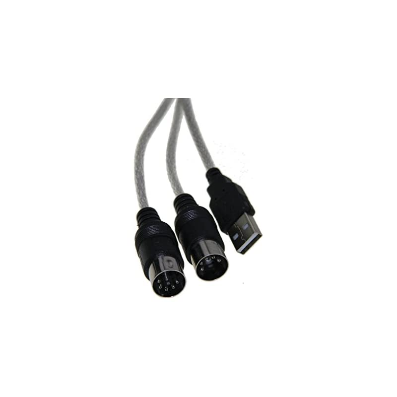 BXT In-Out USB to MIDI Interface for Keyboard Electronic Piano Synthesizer 2 in 1 Piano Convertor Cable for PC PS2