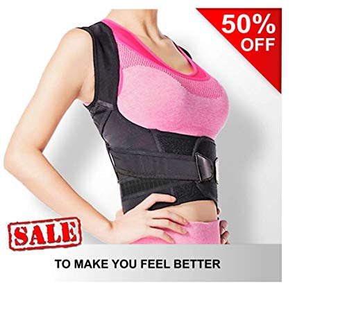 Back Brace Posture Corrector | Fully Adjustable | Improves Posture and Provides Lumbar Back Support | for Lower and Upper Back Pain and Slouching | Men and Women -Size M