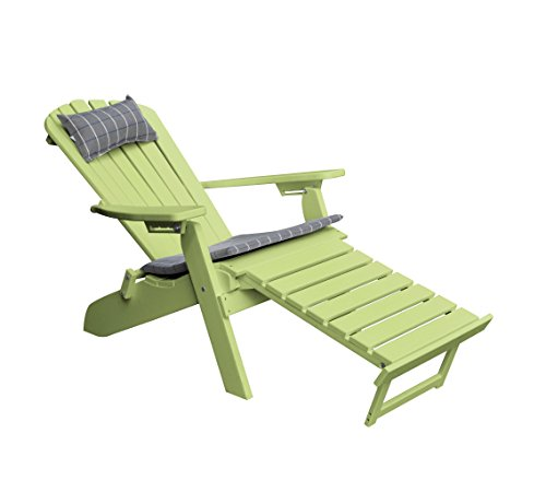 POLYWOOD ADIRONDACK CHAIR With Retractable Ottoman, Poly Wood Reclining Folding Lounge Chairs, Weatherproof Outdoor Patio Seating Outside All Weather Furniture,14 Color Choices (Lime)