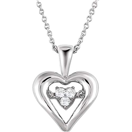 Bonyak Jewelry Sterling Silver 1/10 CTW Diamond Heart...