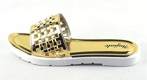 Chfso Dames Glitter Antislip Uitgehold Strand Slippers Lakleder Platte Schuif Sandalen Goud