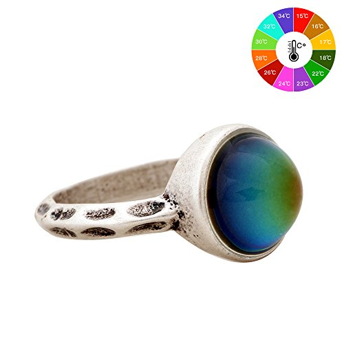 MOJO JEWELRY New Fashion Jewelry Ring European Style Personalized Fashion Vintage Round Stone Retro Color Change Ring For Women MJ-RS002 (9) (Free Mood Rings)