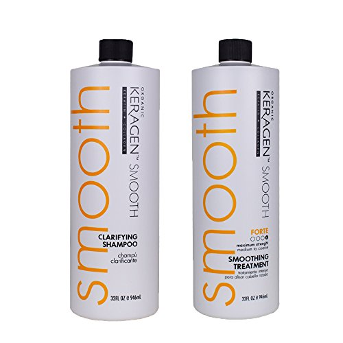 Keragen, Hair Smoothing Keratin Treatment Chocolate 32 Oz Forte and Clarifying Shampoo 32 Oz Combo Set by KERAGEN