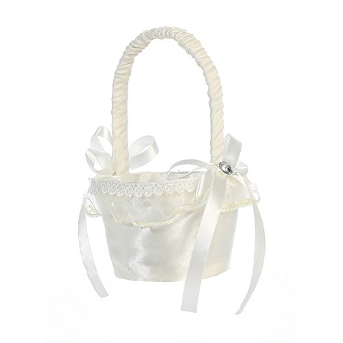 Lito Ivory Organza Trim Satin Flower Girl Basket -