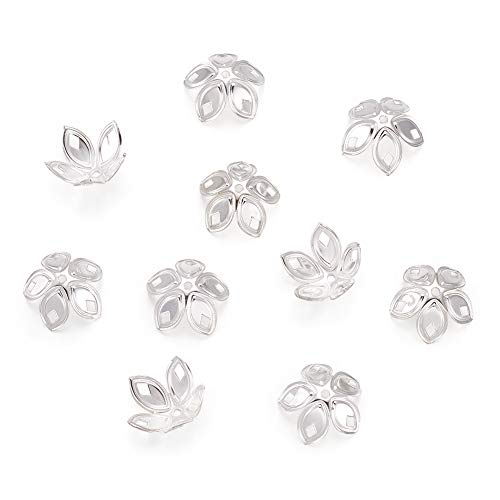 (Craftdady 50 Gram 18mm 5-Petal Flower Bead Caps Jewelry Making End Caps Metal Spacers Findings, About 100-120pcs (Silver))