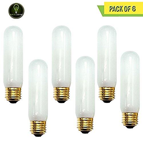 Frost Tubular Halogen Light Bulb - Perlite Lighting (Pack of 6) 60T10F/130 60-Watt T10 Tubular Frost Medium E26 Base 130-Volt Light Bulb