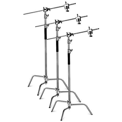 Neewer Pro Stainless Steel Reflector C-Stand Adjustable 10 feet/3 Meters with 4 feet/1.2 Meters Holding Arm and 2 Pieces Grip Head for Photography Studio Video Reflector,Monolight and Others (3-Pack) by Neewer