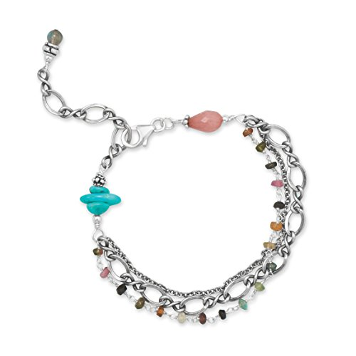 Layered Bracelet with Tourmaline Quartz Reconstituted Turquoise Sterling Silver