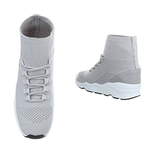 Chaussures femme Baskets mode Plat Sneakers Espadrilles high Ital-Design Gris Clair G-10 7aNmbHo