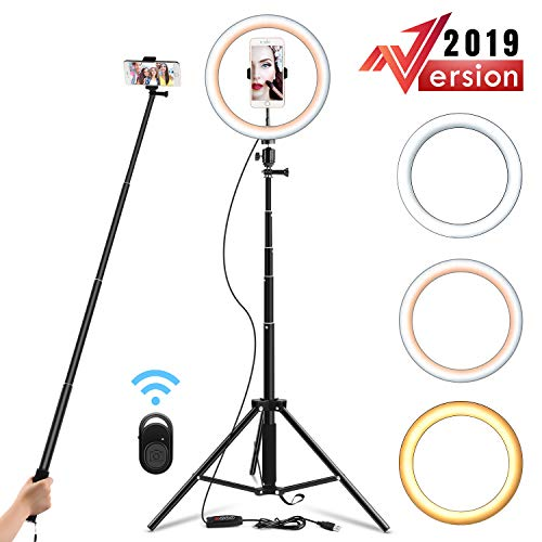 Yesker 10.2' Selfie Ring Light Dimmable with Tripod Stand & Cell Phone Holder, Mini Led Camera Ringlight for Live Streaming/Makeup/YouTube Video/Photography, Remote Control