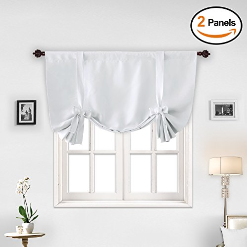 out Curtains Room Darkening Short Curtains for Small Window Curtains Greyish White 42W x 45L 2 Panels (Short Curtain Panels)