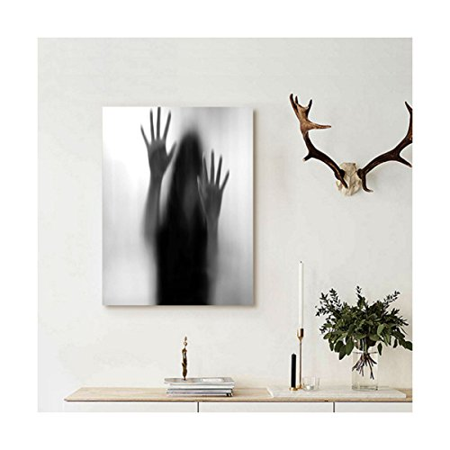 Liguo88 Custom canvas Horror House Decor Silhouette of Woman behind the Veil Scared to Death Obscured Paranormal Photo Wall Hanging for Gray by Liguo88