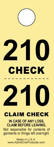Two-part Coat Room Checks -- Coat Check Tags -- 2 Part Yellow -- 500 Count Coat Check Ticket