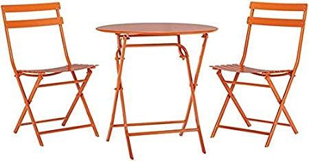 Follie Burnt Orange Patio Bistro Set 3-Pce All-Weather Fold Table Dining Chairs