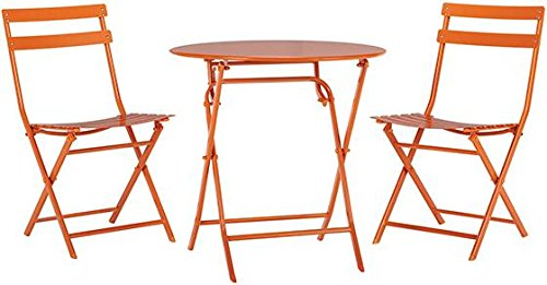 Home Decorators Collection Follie Outdoor 3 Piece Bistro Set, 3-Piece Set, Burnt Orange