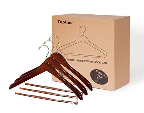 Topline Classic Wood Contoured Suit Hanger Locking Bar - Chestnut Finish (6 - Suit Contoured Hanger