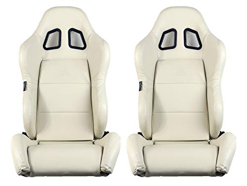 - Tanaka Black Faux Leather with Dual Seat Recline Adjuster Sport Racing Seat-Pair (Beige)