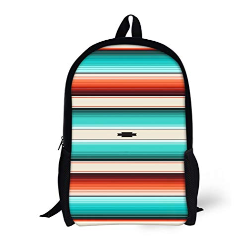 Pinbeam Backpack Travel Daypack Turquoise Orange Navajo White Stripes Pattern Mexican Serape Waterproof School Bag