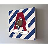 MuralMax -Personalized - Striped Football Theme - The Canvas Sporting Event Collection - Size - 30 x 30