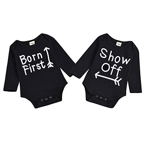 Twins Siblings Baby Boy Girls Outfit Born First Show Off Matching Print Newborn Onesies Clothes (6-12 Months, Black # Long Sleeve)
