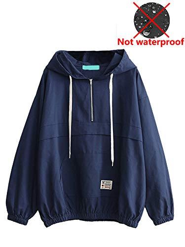 Romwe Women's Lightweight Kangaroo Pocket Anorak Sports Jacket Drawstring Hooded Zip up Windproof Windbreaker Navy S by Romwe (Image #4)