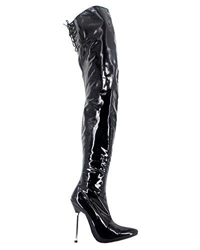 bottes femme noir fétiche sexy rouge 12cm talons Wonderheel cuissarde boots cuir verni crotch métal Noir XOqwA