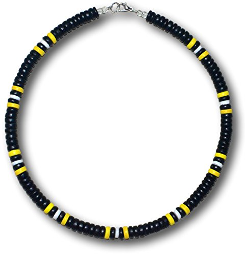 "Native Treasure - 18"" Steelers Black Yellow Coco White Shell Necklace with Lobster Clasp - 8mm (5/16"")"