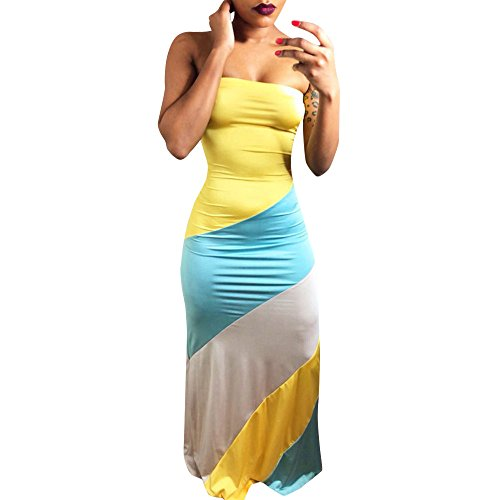 Sunhusing Ladies Sexy Wrapped Chest Slim Bag Hip Dress Summer Bright Color Matching Comfort Long Dress