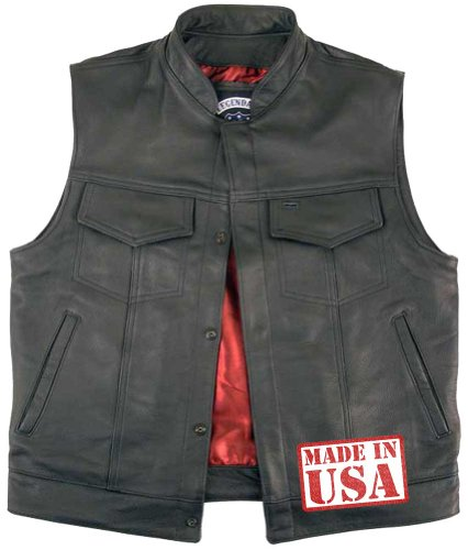 Legendary USA Men's Reaper Leather Motorcycle Vest with G...