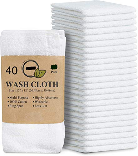 "Simpli-Magic Cotton Washcloths White, 40 Pack, Size: 12""x12"""