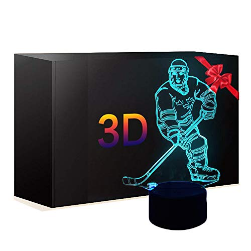 3D Abstract Ice Hockey Athlete Night Light 7 Color Change LED Table Desk Lamp Acrylic Flat ABS Base USB Charger Home Decoration for Kid ()