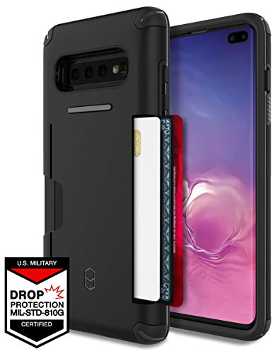Galaxy S10+ Plus Wallet Case for Samsung Galaxy S10 Plus, PATCHWORKS ✔️Military Grade Certified✔️Anti-Slip✔️Dual Layer Protection✔️Impact Resistant✔️Up to 3 Cards Slot [Level Wallet Series], Black