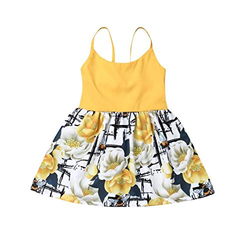 Newborn Baby Girl Floral Dress Kids One Piece Backless Strap Flower Print Sleeveless Tank Top Dance Skirted 0-3 Years