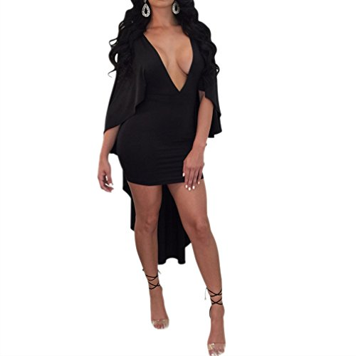 Honghu para mujer Sexy con cuello en V manga Batwing Irregular dobladillo Bodycon Party Dress Clubwear Negro