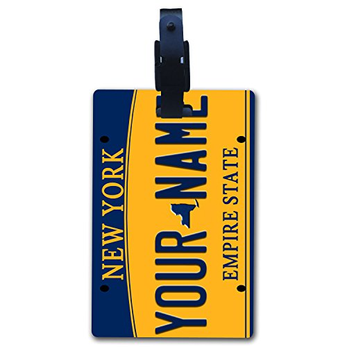 BleuReign(TM Personalized Custom Name New York State License Plate Luggage Tag with Strap