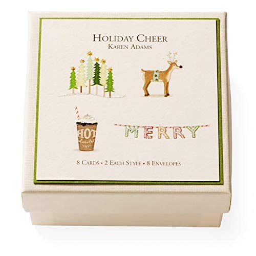 Karen Adams Holiday Cheer Winter Christmas Gift Enclosure Box of 8 Assorted Cards with Envelopes