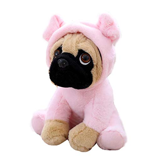 FONGFONG Realistic Stuffed Pug Dog Puppy Soft Plush Cuddly Animal Toy Shar Pei Dog Doll in Costumes for Infant Baby Kids 8 Inches Pig