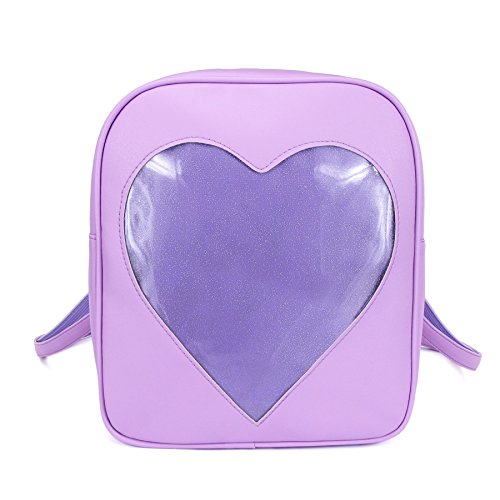 2018 Summer Candy Backpacks Transparent Love Heart Shape Pu Leather School Bags for Teenage Girls Kids Purse Lovely Ita Bag (purple)