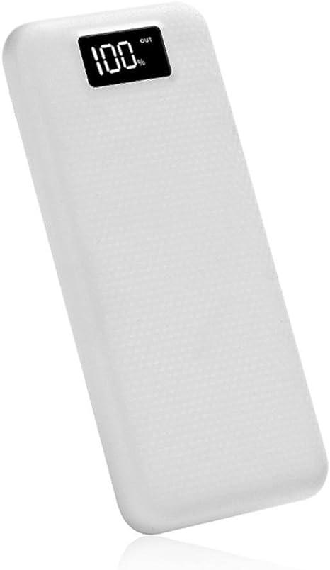 ZLOSKW 5V 2A Dual USB 2 Puertos Batería Externa Power Bank 8 x 18650 Cargador de Batería Caja DIY Funda para iPhone Samsung Sony iPod iPad PS4 XiaoMi Huawei Linterna, Blanco: Amazon.es: