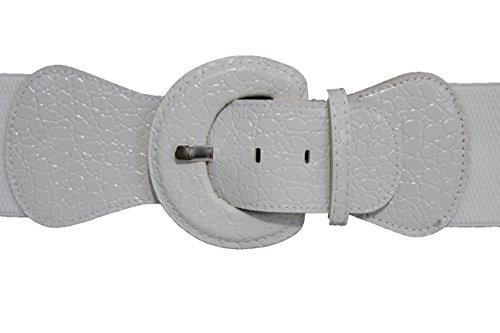TFJ Women's Elastic Belt Faux Leather Hip High Waist Big Round Buckle White S M (Xs-m) - Faux Crocodile Belt