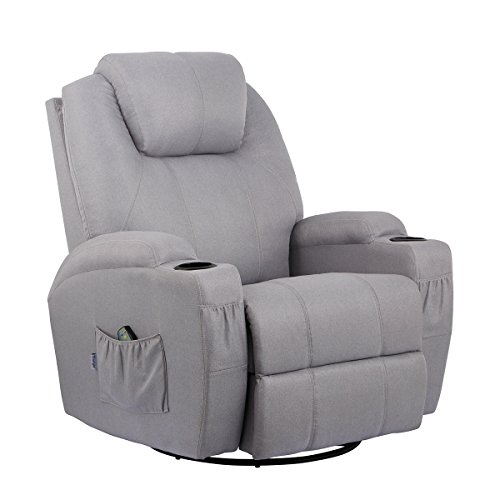 - Esright Grey Fabric Massage Recliner Chair 360 Degree Swivel Heated Ergonomic Lounge
