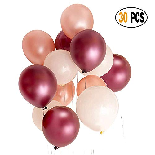 - DIvine 30 Pcs Assorted Color Latex Balloons - 12 Inches Burgundy Rose Gold and White Party Decorations Balloons Set for Wedding Birthday Baby Showers Christmas Festival Events